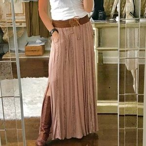 Nude Brown Maxi Skirt